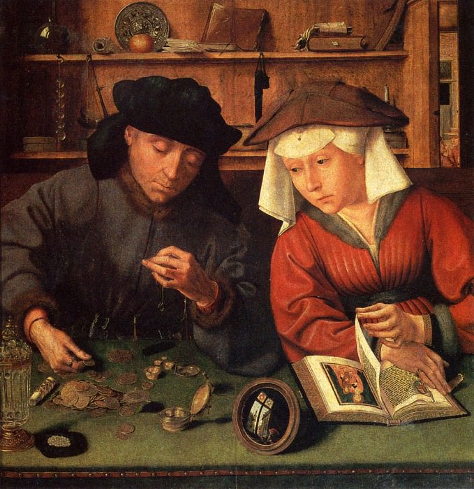 The Money Lender And His Wife. Quentin Massys