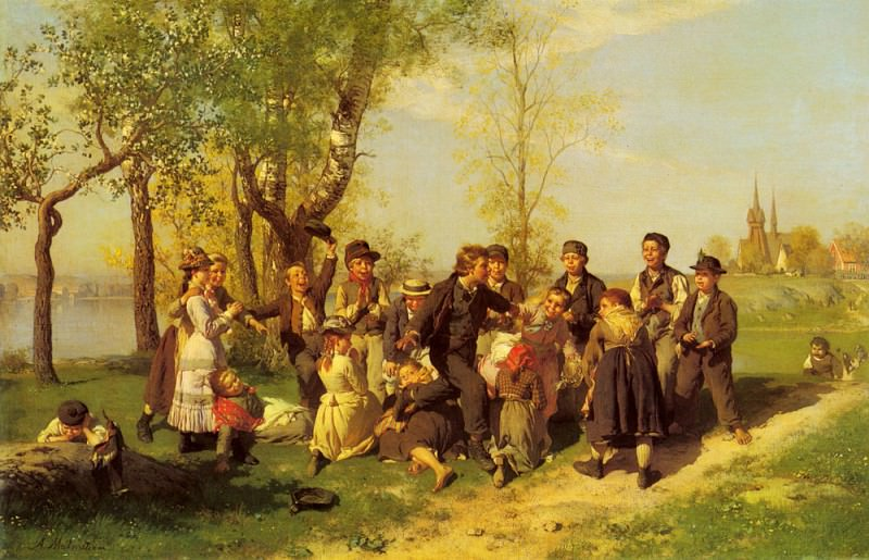 Malmstrom August Children At Play. Johan August Malmström