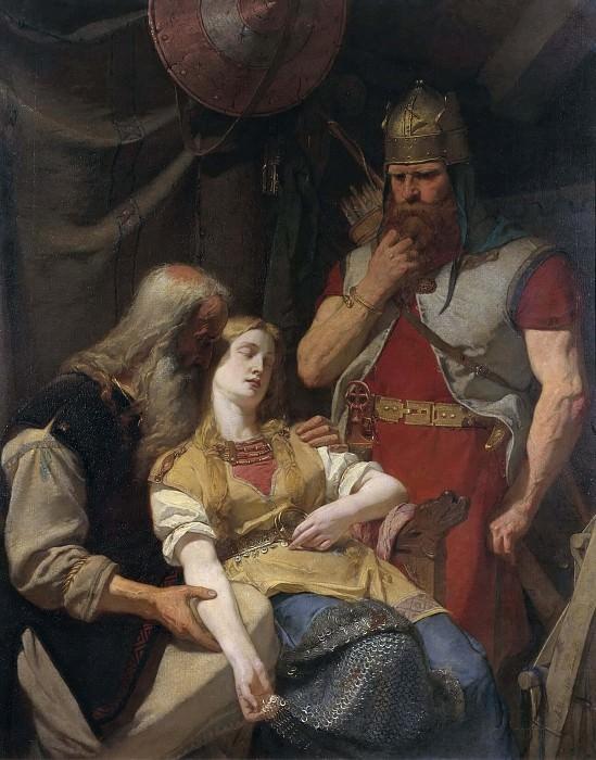 Ingeborg Receiving News of Hjalmar's Death from Orvar Odd. Johan August Malmström