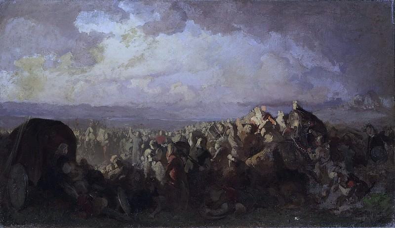 The Battle of Bråvalla. Study. Johan August Malmström