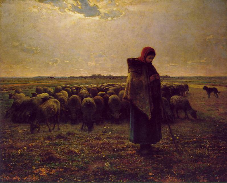 Shepherdess with Her Flock ATC. Jean-François Millet
