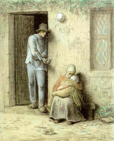 Le Nourrisson or Lenfant Malade. Jean-François Millet