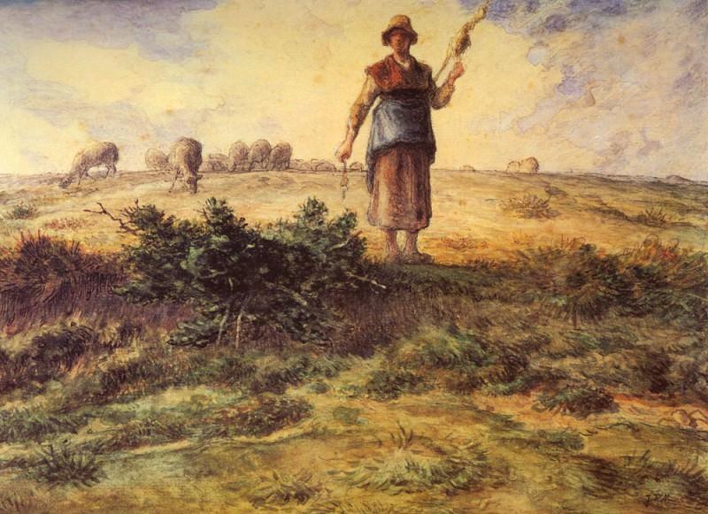 A Shepherdess And Her Flock. Jean-François Millet