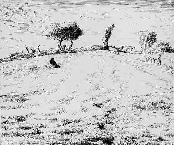 Landscape Hillside in Gruchy Normandy. Jean-François Millet