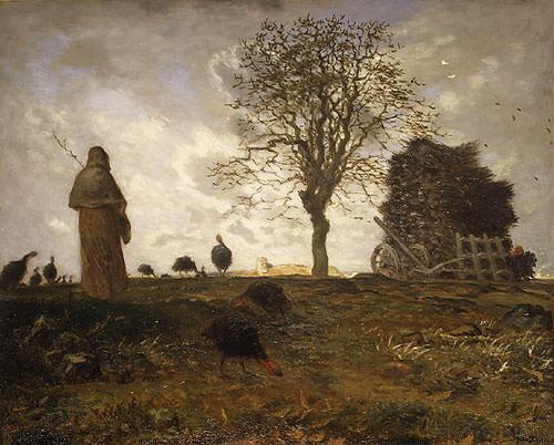 Autumn Landscape with a Flock of Turkeys. Jean-François Millet