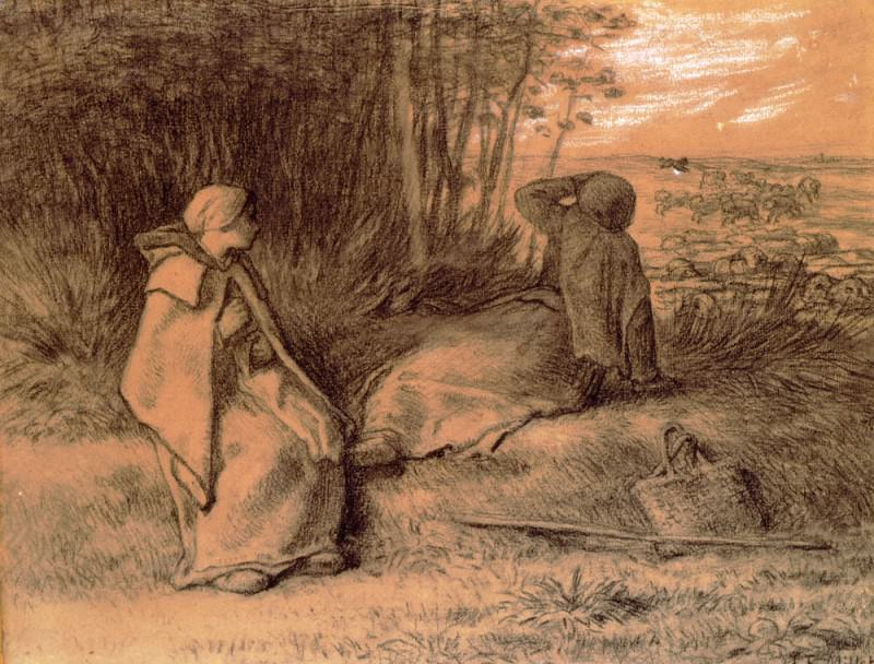 Shepherdesses Seated In The Shade. Jean-François Millet