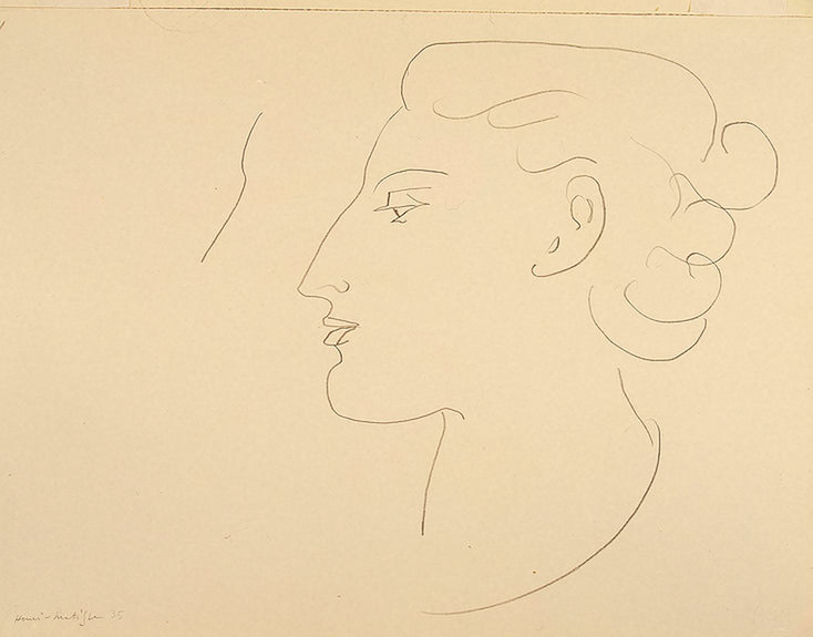 Woman in Profile (Turned to the Left), 1935, pencil. Henri Matisse