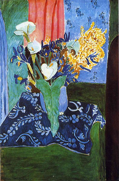 Голубая ваза с цветами на синей скатерти, 1913. Анри Матисс