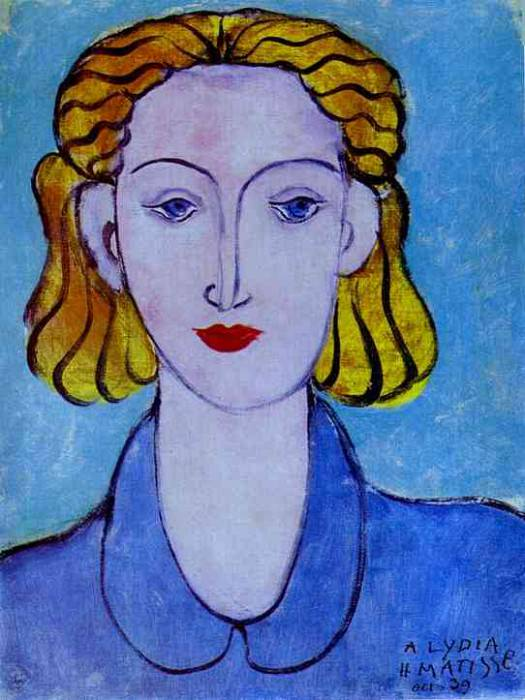 1939 Young Woman in a Blue Blouse (Portrait of Lydia Delectorskaya, the Artists Secretary). Henri Matisse