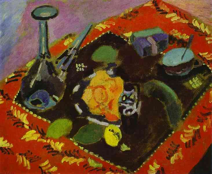 Dishes and Fruit on a Red and Black Carpet. Henri Matisse