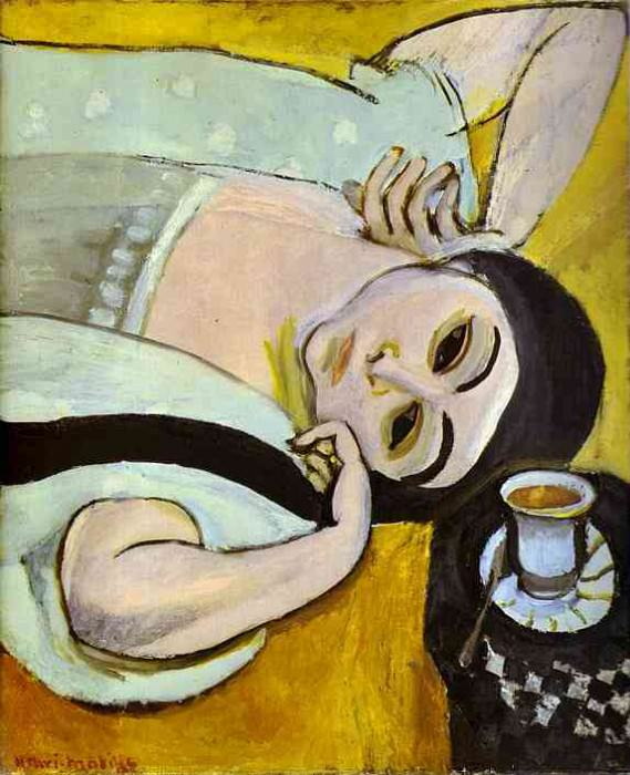 Laurettes Head with a Coffee Cup. Henri Matisse