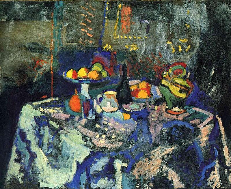 Натюрморт: ваза, бутылка и фрукты. Анри Матисс
