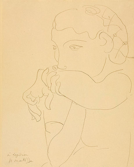 Lydia with her Hair in a Net, Circa 1939, pencil on. Henri Matisse