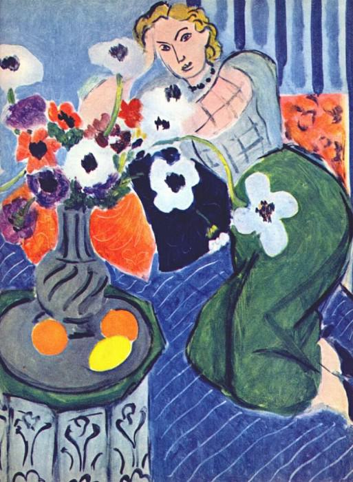 anemones and woman harmony in blue. Henri Matisse