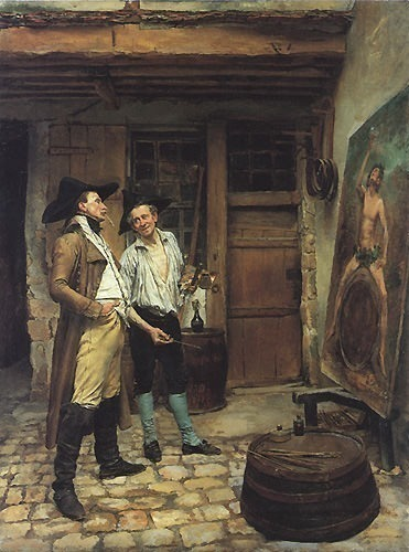 The Sign Painter 23.5x17.5in. Jean-Louis Ernest Meissonier