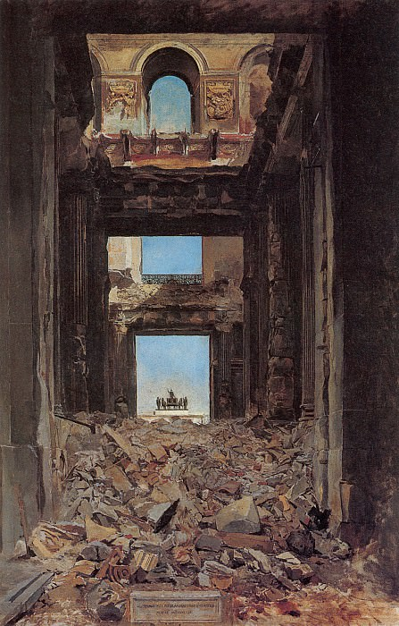 The Ruins of the Tuileries Palace after the Commune of 1871. Jean-Louis Ernest Meissonier