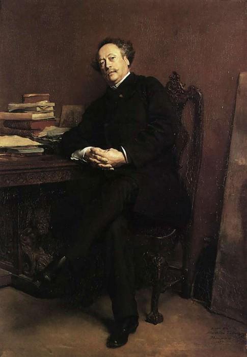 Portrait of Alexandre Dumas Jr 1877 24.5x16.5in. Jean-Louis Ernest Meissonier