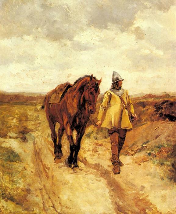 Un Homme D-Armes Et Son Cheval. Jean-Louis Ernest Meissonier