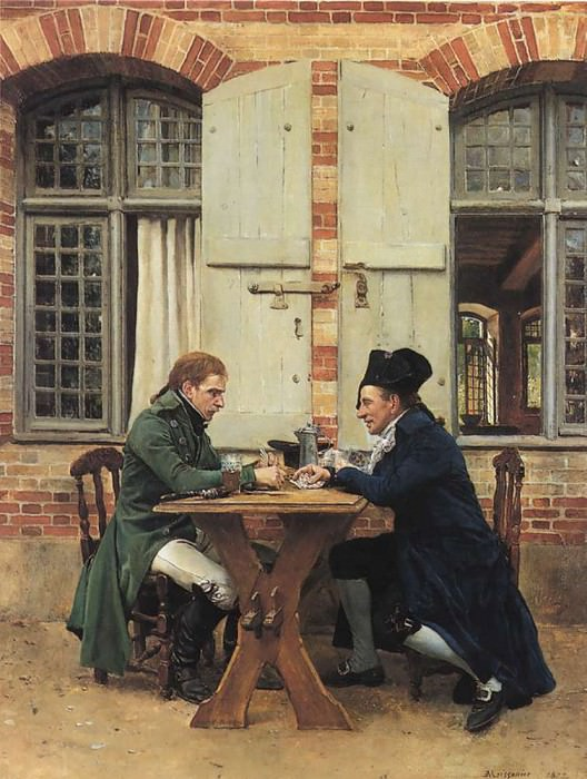 The Card Players 1872 15.75x12in. Jean-Louis Ernest Meissonier