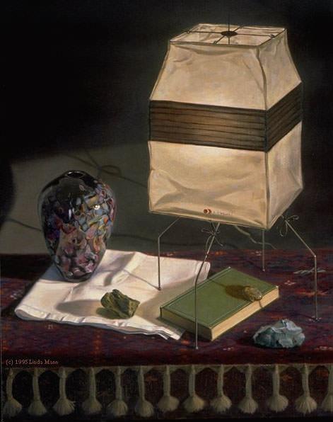Noguchi Lamp with Books. Linda Mann