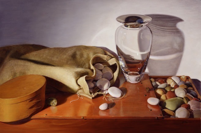 Still life with Glass Vase and Stones. Linda Mann