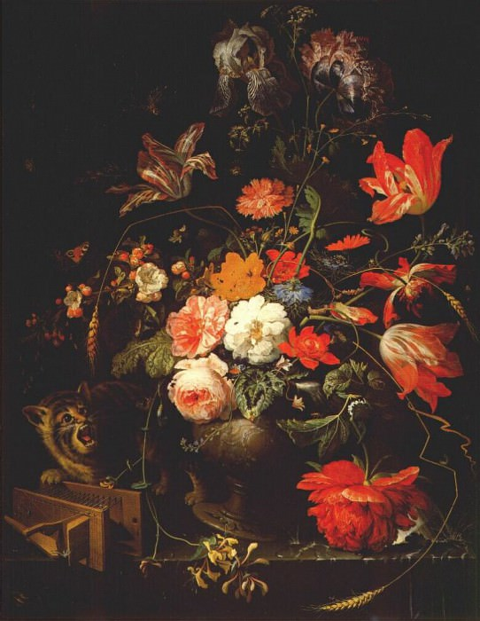 still life with flowers cat and mousetrap c1670-80. Abraham Mignon