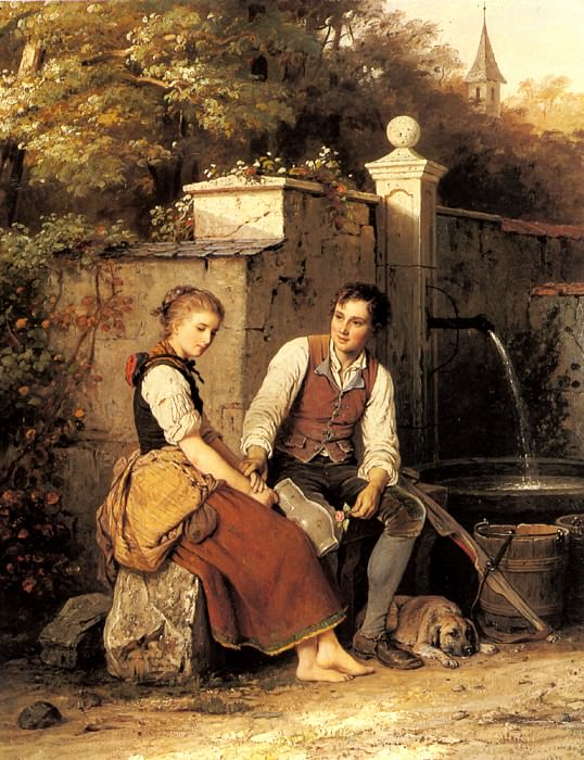 Meyer Von Bremen Johann Georg At The Well. Johann Georg Meyer von Bremen