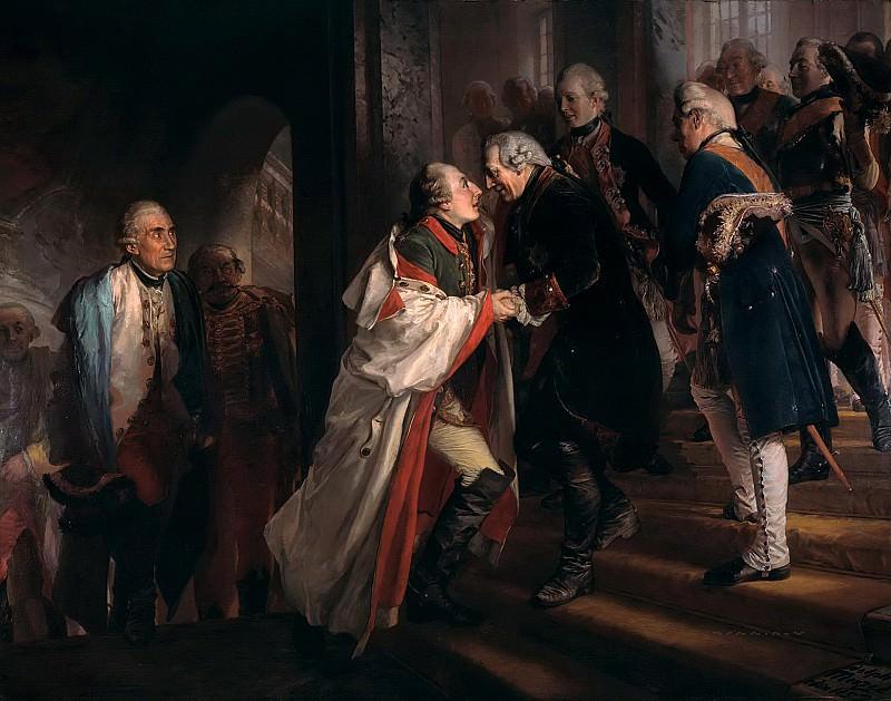 Encounter Frederick II with Emperor Joseph II in Neisse in 1769. Adolph von Menzel