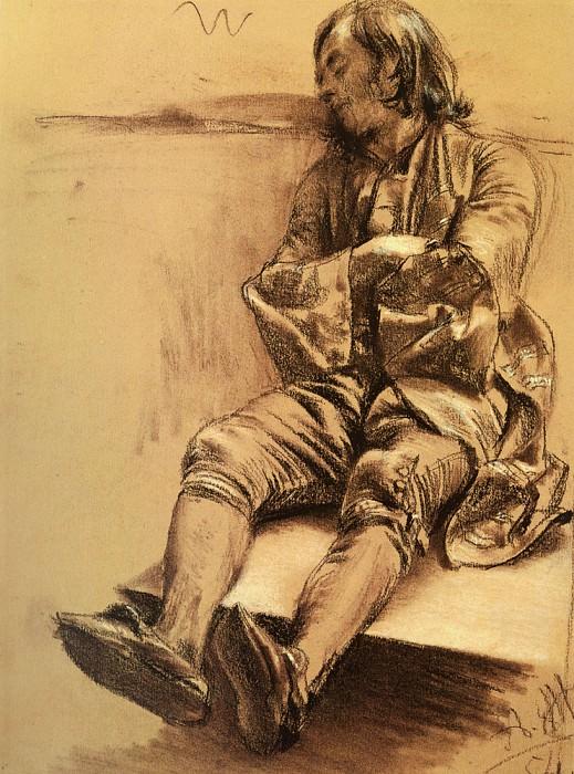 Schlafender Mann. Adolph von Menzel