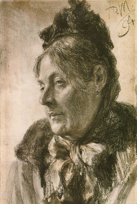 The Head of a Woman. Adolph von Menzel