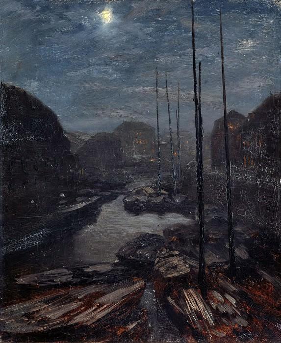 Moonlight over Friedrichsgracht in the old Berlin. Adolph von Menzel