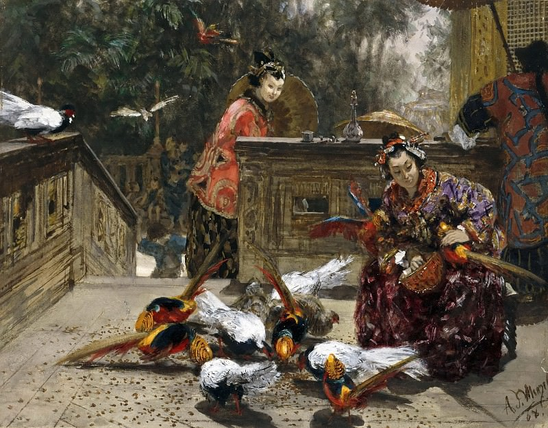 Chinese Women with Pheasants. Adolph von Menzel