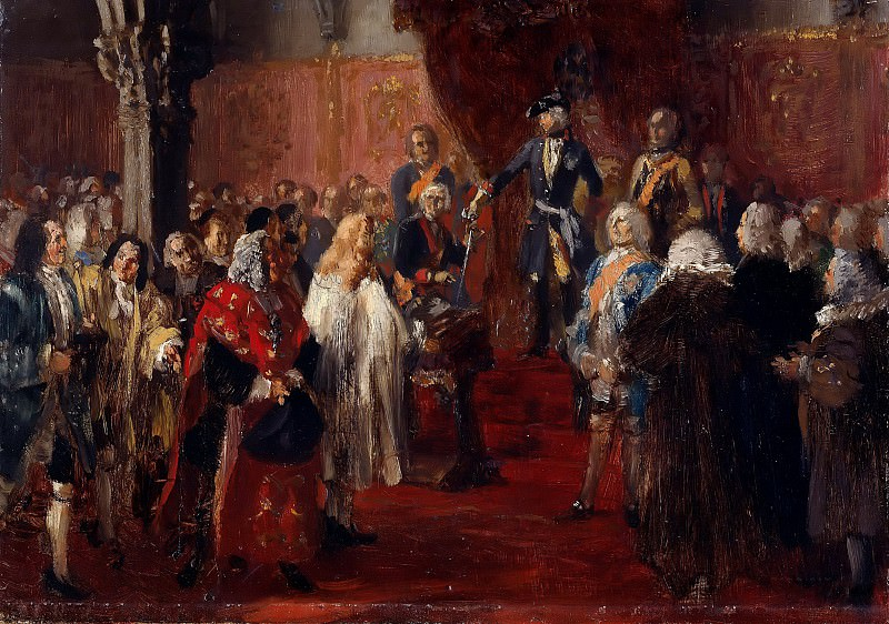 The Allegiance of the Silesian Diet before Frederick II in Breslau. Adolph von Menzel
