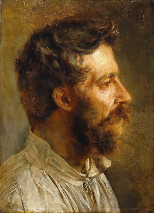 Голова бородатого мужчины в профиль. Адольф фон Менцель