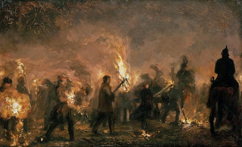 Students torchlight. Adolph von Menzel