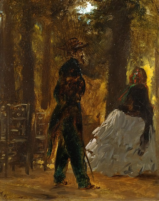 Policeman and lady in the Tuileries Gardens. Adolph von Menzel
