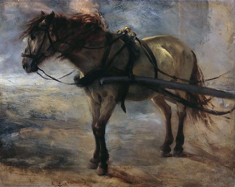 Harnessed horse. Adolph von Menzel