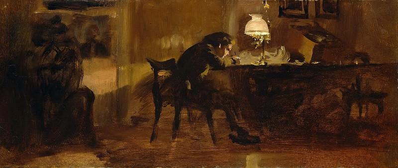 Boy at the desk. Adolph von Menzel