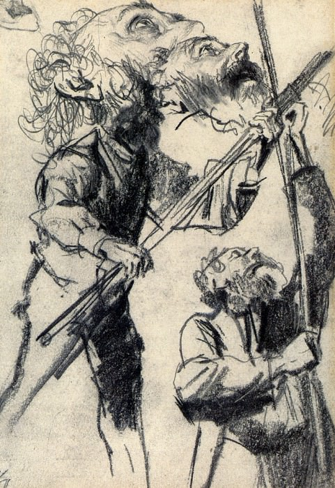 Study Of A Male Three Views. Adolph von Menzel