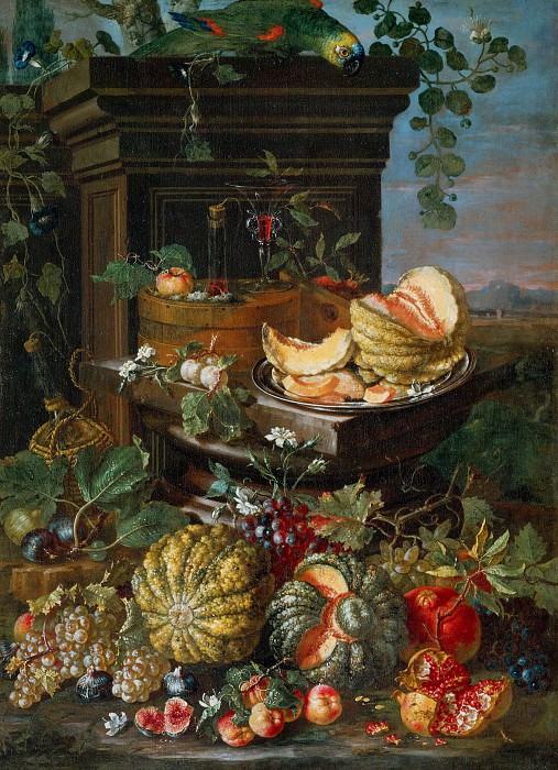 Still Life with Flowers and Fruit (Attr). Paolo Porpora
