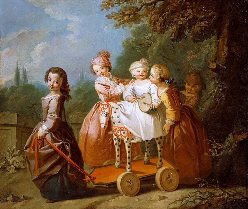 A Young Boy on a Hobbyhorse, with other Children Playing in a Garden. Philippe Mercier