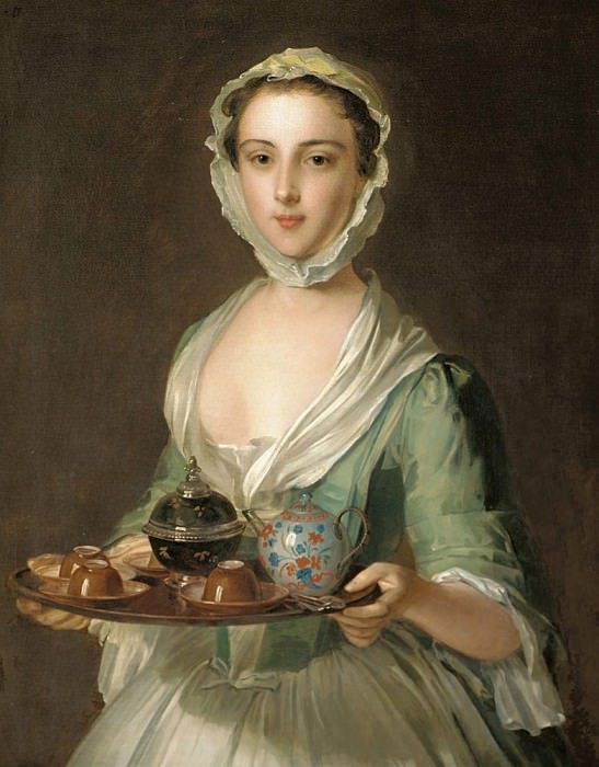 Portrait of a young woman, possibly Hannah, the artists maid, holding a tea tray. Philippe Mercier