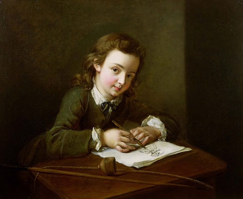 Boy Drawing at a Table. Philippe Mercier
