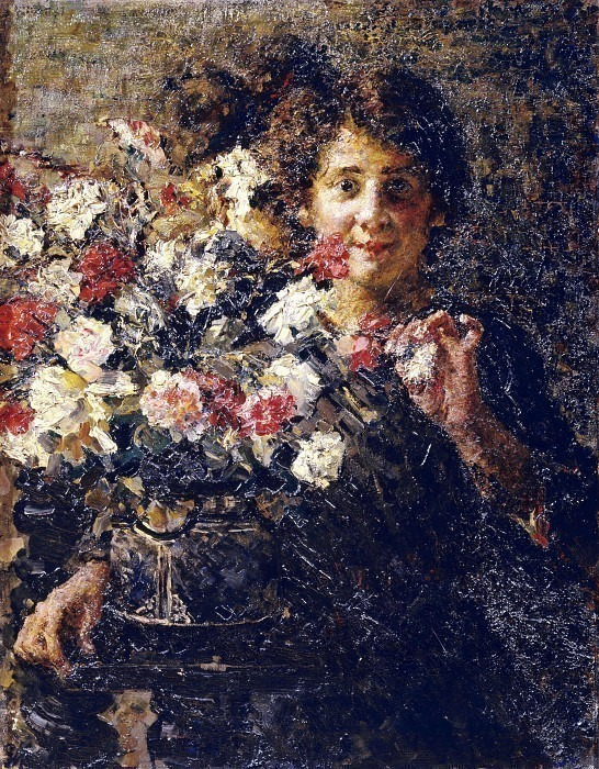 Портрет женщины с вазой с цветами. Антонио Манчини
