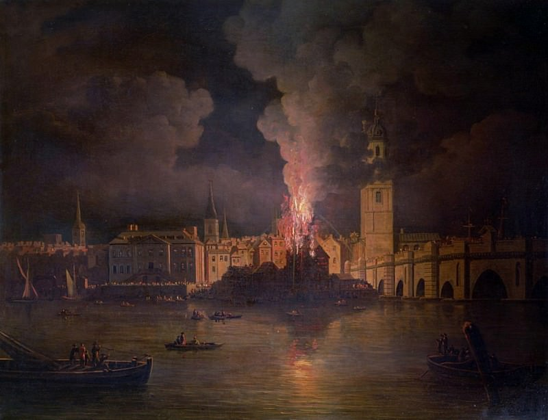 The Waterworks at London Bridge on Fire in 1779. William Marlow