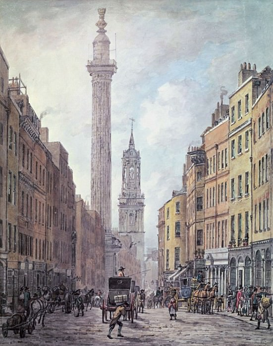 View of Fish Street Hill, Monument and St. Magnus the Martyr from Gracechurch Street, London. William Marlow