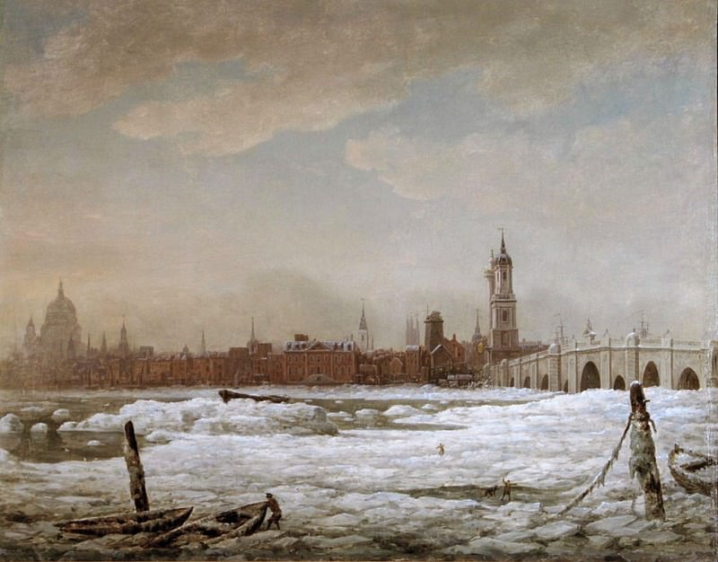 London Bridge in the Great Frost of 1776. William Marlow