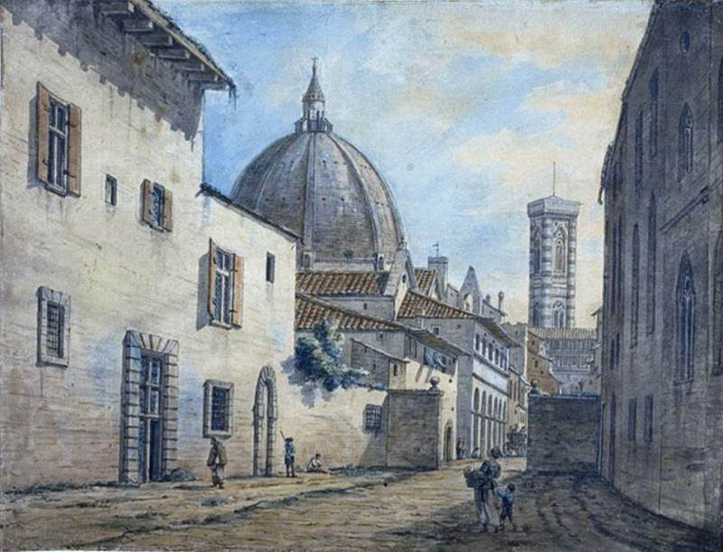A Street in Florence with the Duomo and Campanile in the Background. William Marlow