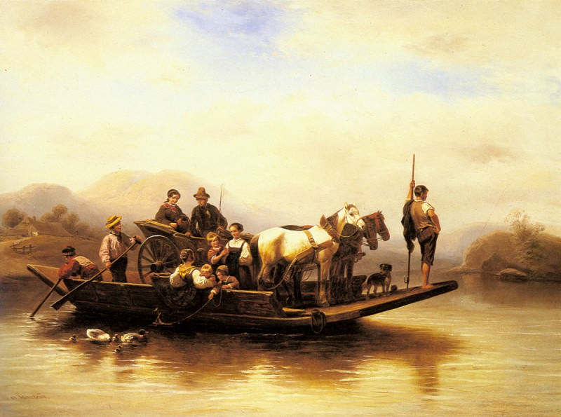 Meyerheim Wilhelm Alexander The Ferry Crossing. Wilhelm Alexander Meyerheim