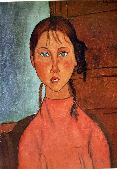 Девочка с косичками, 1917. Амедео Модильяни